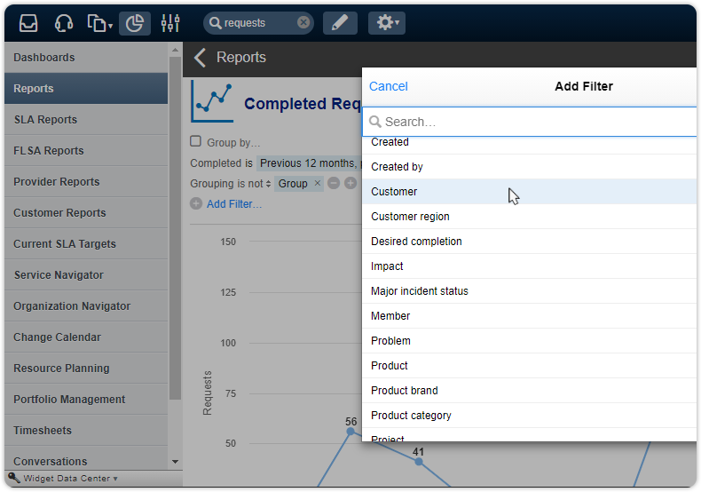 Customer organization filters request