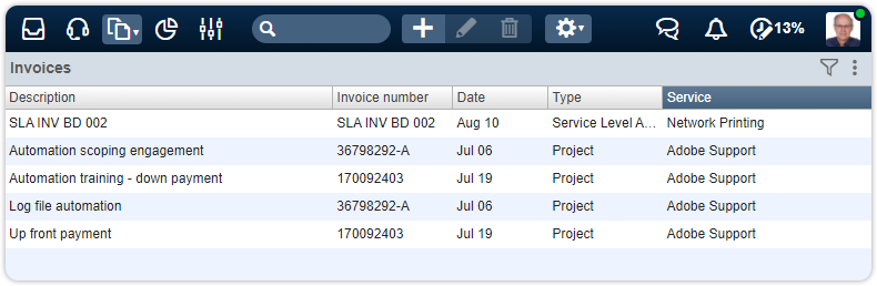 Invoice view with service column