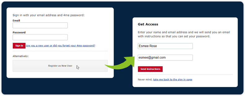 Register and get access as new user