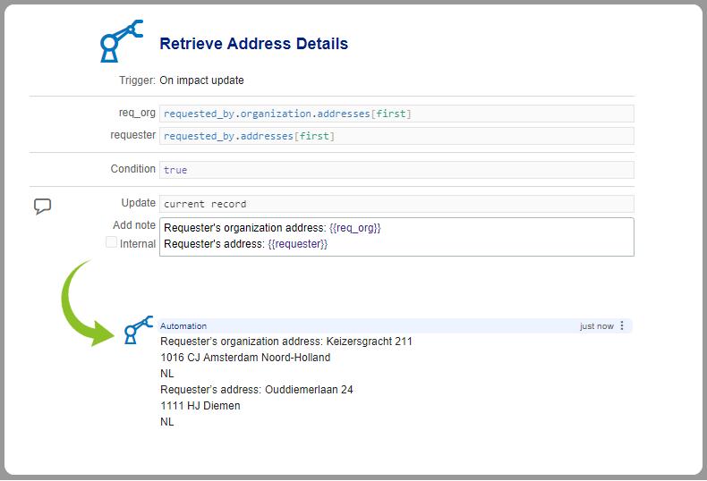 Automation rule retrieve organization address