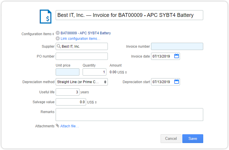 Invoice form with automatically populated fields